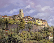 Provence Village Painting Prints - St.Paul de Vence Print by Guido Borelli