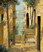 Village Painting Framed Prints - stradina a St Paul de Vence Framed Print by Guido Borelli