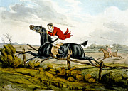 Black Horse Posters - Straight Through the Fence from Qualified Horses and Unqualified Riders Poster by Henry Thomas Alken