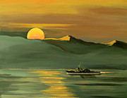 Middle East Painting Originals - Strait Of Hormuz by Janet Glatz