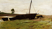 Sailboat Paintings - Stranded Boats Porlock Weir by Frederick George Cotman