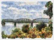 Oklahoma Digital Art Posters - Strang Bridge Poster by Jeff Kolker