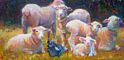 Hen Paintings - Stranger at the Well - spring lambs sheep and hen by Talya Johnson