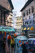 Streetscape Painting Originals - Strangers In Rome by Ryan Radke