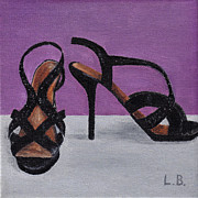 Stilettos Paintings - Strappy Black Heels for Maddy by Laurel Best
