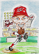 Mlb Mixed Media Prints - Strasburg Print by Paul Nichols