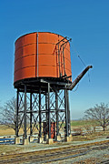 Train Pictures Prints - Strasburg Water Tower Print by Skip Willits