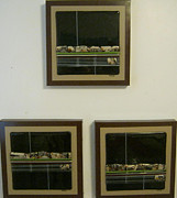 Rich Brown Frame Glass Art - Strata by Mary  Knapp