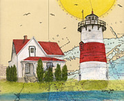 New England Lighthouse Paintings - Stratford Pt Lighthouse CT Nautical Chart Map Art by Cathy Peek
