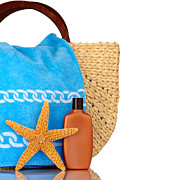 Sunbath Posters - Straw Beach Bag Blue Towel Sunscreen Starfish Isolated On White Poster by Susan McKenzie