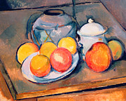 Fruit Still Life Framed Prints - Straw Covered Vase Sugar Bowl and Apples Framed Print by Paul Cezanne