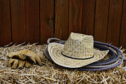 Bull Riding Prints - Straw Hat  on  Hay Print by Paul Ward