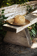 Sandra Cunningham - Straw hat on wooden bench