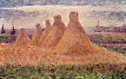 Stacks Prints - Straw Stacks Print by Georges Pierre Seurat
