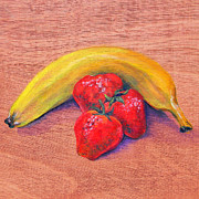 Banana Art Prints - Strawberries and Banana Print by Judy Bruning