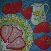 Strawberry Pastels Prints - Strawberries and Cream Print by Nina Shilling