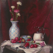Strawberries Paintings - Strawberries and Cream by Timothy Jones
