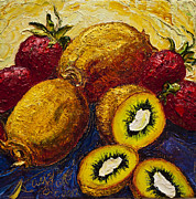 Kiwi Painting Prints - Strawberries and Kiwis Print by Paris Wyatt Llanso