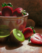 Kiwi Painting Prints - Strawberries and Kiwis Print by Timothy Jones