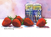 Strawberry Art Framed Prints - Strawberries and Shakers Framed Print by Barbara Rosenzweig