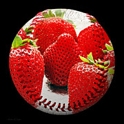 Baseball Art Mixed Media Posters - Strawberries Baseball Square Poster by Andee Photography