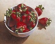 Hyper-realism Framed Prints - Strawberries in China Dish Framed Print by Timothy Jones