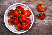 Wood Photo Prints - Strawberries Print by Jane Rix