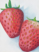 Close Up Painting Metal Prints - Strawberries Metal Print by Laura Dozor