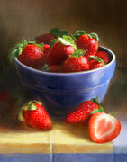 Food And Beverage Paintings - Strawberries on Yellow and Blue by Robert Papp