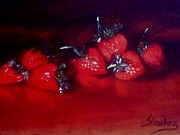 Small Paintings - Strawberries - Original painting SOLD by Manuel Sanchez