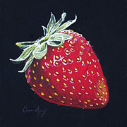 Black Berries Painting Framed Prints - Strawberry Framed Print by Aaron Spong
