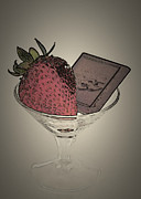 Sherry Hallemeier Posters - Strawberry and Chocolate Martini Poster by Sherry Hallemeier