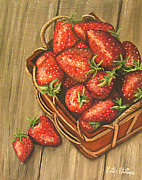 Strawberry Art Framed Prints - Strawberry Basket Oil painting Framed Print by Katie Phillips