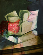 Cardboard Mixed Media - Strawberry Box by Francesca Siano