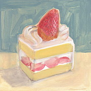Wayne Thiebaud Framed Prints - Strawberry Cake Framed Print by Kazumi Whitemoon