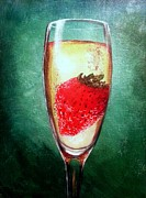 Champagne Painting Originals - Strawberry in Champagne by Marco Antonio Aguilar
