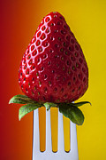 Red Fruit Art - Strawberry On Fork by Garry Gay