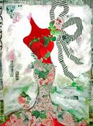 Anahi Decanio Mixed Media - Strawberry Red Fantasy Woman by Anahi DeCanio
