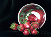 Strawberry Pastels Prints - Strawberry Reflecions Print by Karen Elkan
