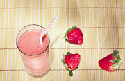 Strawberry Smoothie Metal Prints - Strawberry smoothie Metal Print by Alexey Stiop