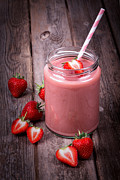 Rustic Metal Prints - Strawberry smoothie Metal Print by Jane Rix