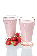 Strawberry Smoothie Metal Prints - Strawberry smoothies Metal Print by Jean Gill