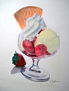 Strawberry Sundae Art - Strawberry Sundae by Cathy Jourdan