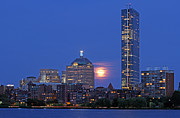Charles River Posters - Strawberry Supermoon over Boston Skyline Poster by Juergen Roth