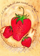 Strawberry Art Mixed Media Framed Prints - Strawberry Time Framed Print by Barbara LeMaster