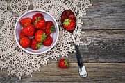 Tablecloth Framed Prints - Strawberry vintage Framed Print by Jane Rix