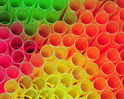 Kids Room Art Metal Prints - Straws in Color Metal Print by Paul Ward