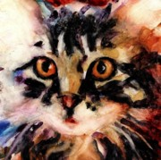 Watercolor Cat Paintings - Stray Hairs by Molly Poole