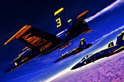 Blue Angels Framed Prints - Streaking Blues Framed Print by Benjamin Yeager