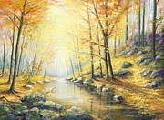 Colors Of Autumn Painting Posters - Stream In The Forest Poster by Marie Veselska
